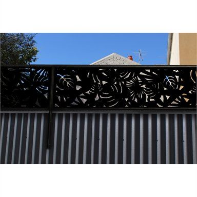 Matrix 2400 X 600mm Charcoal Rainforest Fence Extension Bunnings Warehouse In 2020 Privacy Fence Designs Small Courtyard Gardens Fence Design