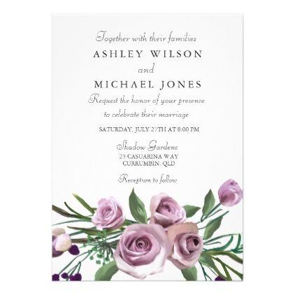Elegant Modern Purple Rose Wedding Invite Zazzle Com Rose