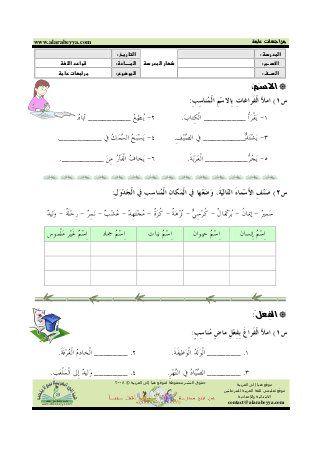 اقسام الكلمة والضمائر Arabic Worksheets Learning Arabic Arabic Kids