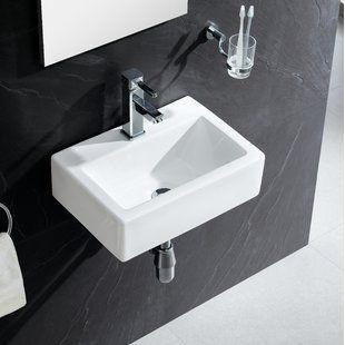 Cerastyle By Nameeks Mini Ceramic Vessel Bathroom Sink With Overflow Wayfair Small Bathroom Sinks Bathroom Sink Wall Mounted Bathroom Sinks