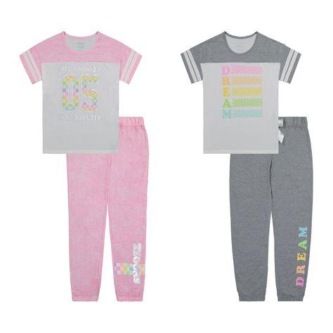 Sleep On It Girls 4 Piece Pajama Pant Set - Dream Snooze - S (7/8)