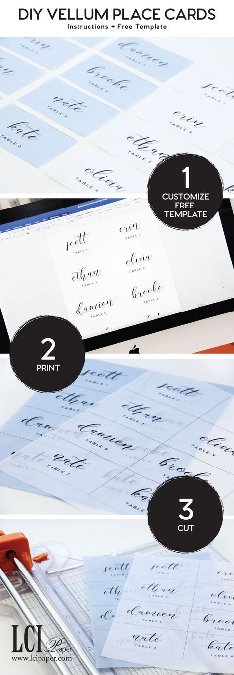 Make Your Own Vellum Place Cards Free Microsoft Word Template And Step By Step Instructi Place Cards Wedding Diy Wedding Place Card Templates Diy Place Cards