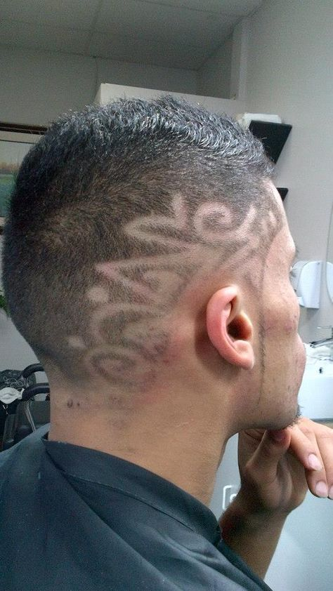 Hair graphic design with straight razor detailing.