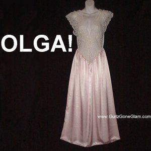 OLGA Nightgown Vintage RARE STYLE Long PASTEL PINK Gown EXTRA LACY with SATIN SKIRT 924 M-L! @gurlz.ecrater.com