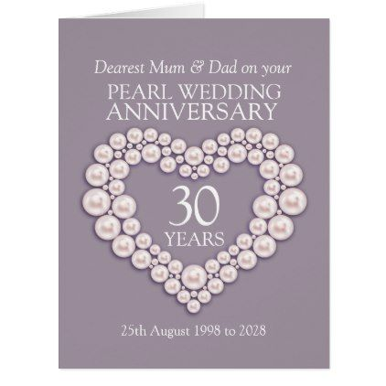 Pearl 30th Wedding Anniversary Mum And Dad Card Heart Gifts Love