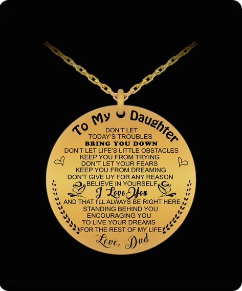 Daughter Necklace From Dad-I Love You. Love, Dad - Gift For Loves
