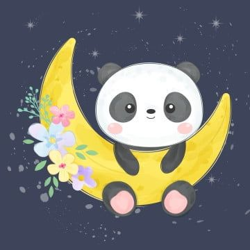 Cute Baby Panda Hanging On The Moon Zoo Animals Clipart Adorable Animal Png And Vector With Transparent Background For Free Download Cute Animal Illustration Cute Panda Wallpaper Animal Clipart