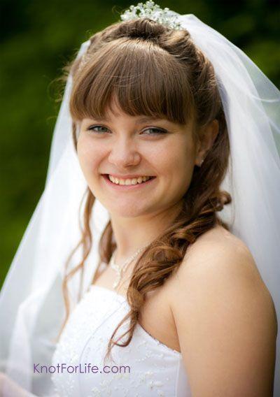 Half Updo Bangs Bridal Hairstyle With Veil And Tiara Weddinghairflowers Wedding Hairstyles Updo Bridal Hair Veil Wedding Hairstyles For Long Hair
