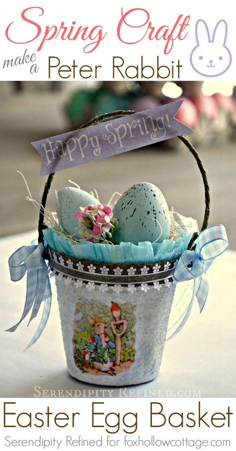 Spring Craft Peter Bunny Rabbit Easter Egg Basket