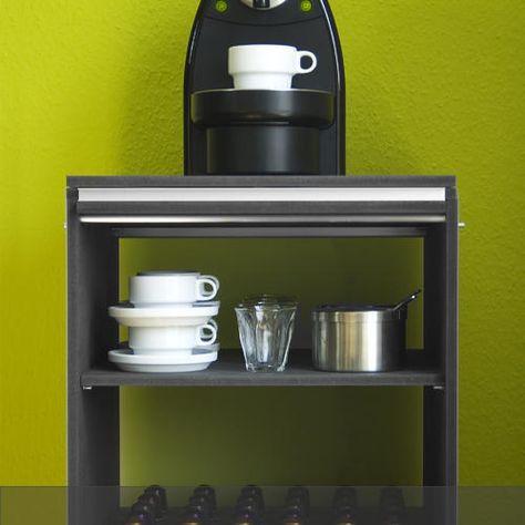 Kaffeschränkchen für die Kaffemaschine mit viel Stauraum für Tassen, Kaffepulver, Kaffekapseln Zucker