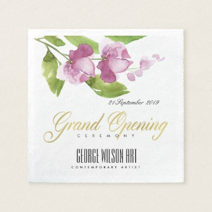 Purple Pink Ink Watercolor Floral Grand Opening Napkin
