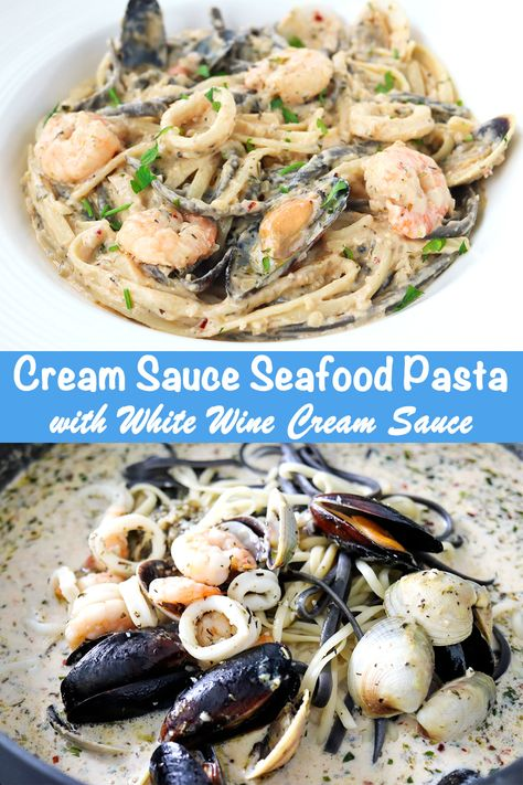This Cream Sauce Seafood Pasta is luxuriously creamy, elegant, and easy to make! Two types of linguini pasta are tossed with a gorgeous medley of seafood in a heavenly white wine cream sauce! Perfect for date nights, entertaining, or treating yours Creamy Seafood Pasta, Seafood Linguine, Seafood Pasta Recipes, Seafood Dishes, Pasta Dishes, Recipes With Seafood Medley, Sauce A La Creme, Cream Sauce Pasta, Pasta Linguini