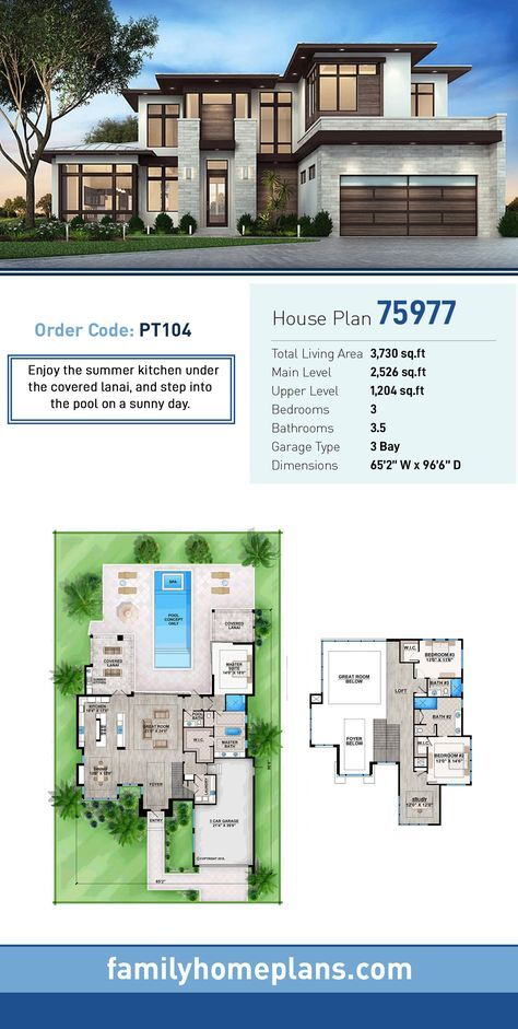 Modern Style House Plan 75977 With 3 Bed 4 Bath 3 Car Garage Luxury House Plans Modern Style House Plans Pool House Plans