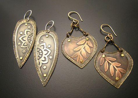 Etched metal earrings -- Cristina Leonard Metal Designs