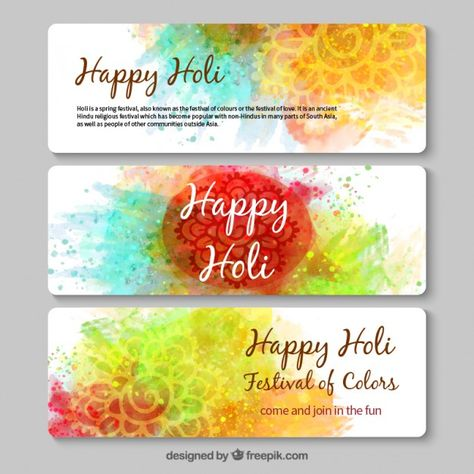 Hand Painted Happy Holi Banners Free Vector Happy Holi