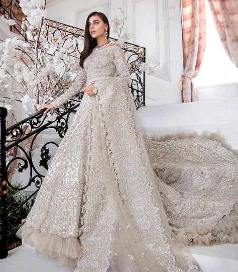 Hand made Mirror work latest Pakistani bridal dresses