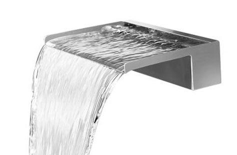 Wasserfall 30 cm incl LED-Beleuchtung aus Edelstahl matt - edelstahl teichbecken rechteckig