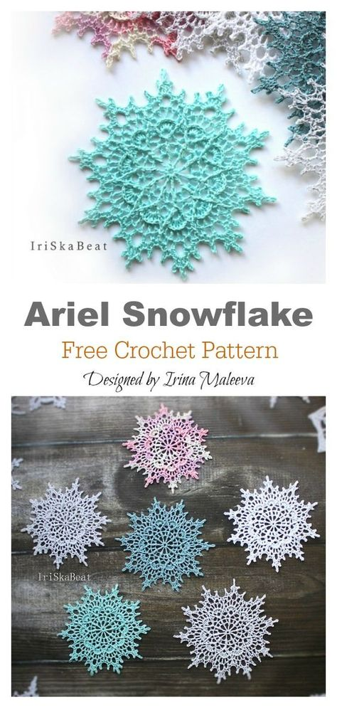 irish crochet flowers This Snowflake Christmas Ornaments Free Crochet Pattern will bring some of winters wonderful whiteness into your home. Crochet Motifs, Crochet Flower Patterns, Thread Crochet, Crochet Crafts, Crochet Doilies, Crochet Flowers, Crochet Projects, Knitting Patterns, Knitting Projects