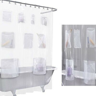 Advertisement Shower Curtain Clear With Mesh Pockets New Bath