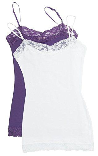 bc21c101f7b 2 Pack Zenana Womens Lace Trim Tank Tops Large White Purple ** Visit ...