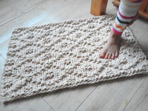 Hand Knit Rope Rug Rectangular Chunky Soft Natural Cotton Big