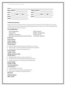 Events Coordinator Resume Unique Event Coordinator Resume Template  Word Excel & Pdf Templates .