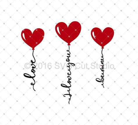 Hand Lettered/Hand Drawn Valentine's Day Hearts Balloons SVG Cut Files for Cricut and Silhouette.