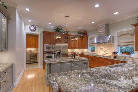 Traditional Kitchen with Hardwood floors, Stone Tile, MS International Azul Aran Granite Countertop, Wine refrigerator, Flush