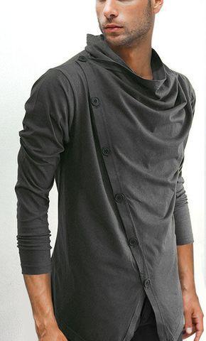 Men/'S Asymmetric Rivet Heaps Collar Hoodies Long Sleeve Sweatshirt Tops Pullover