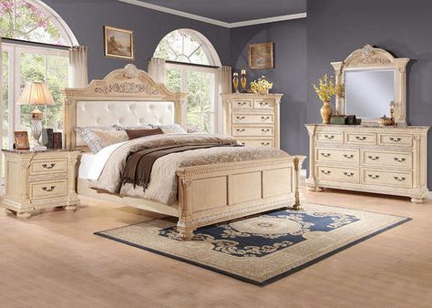 Classic Style. The Prestige bedroom collection will bring a timeless look and traditional style to your bedroom.  A white finish is applied to select veneers to create old work look.  Antique looking ornamentation and hardware adorns each piece. Faux marble tops on each case piece scream luxury and will create a classic look in your home. Collection includes headboard, footboard, rails, dresser, mirror, nightstand and chest.