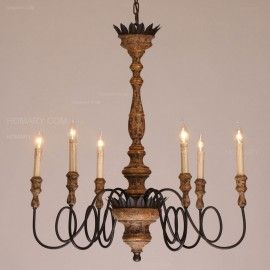 Vintage Cottage Sculpted Wooden 6 Candle Shaped Light Chandelier Antique Ceiling