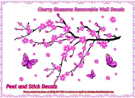 Cherry Blossoms Removable Wall Decals   http://peelnstickdecals.blogspot.com/2013/06/cherry-blossoms-removable-wall-decals.html  http://www.peelnstickdecals.com/products/product