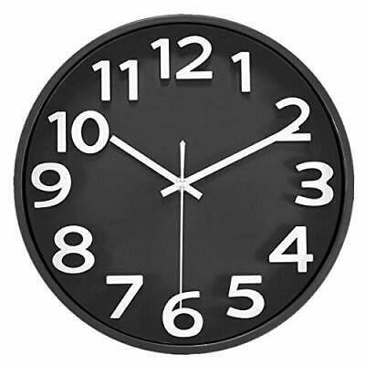 Lucor Large 3d Number Wall Clock 12 Inch Silent Non Ticking Quartz 3d Numerals Fashion Home Garden Homedcor Clocks Ebay Black Wall Clock Wall Clock Clock
