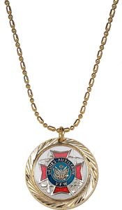 NEW Ladies Auxiliary Gold w/White Swirl Necklace. $8.95