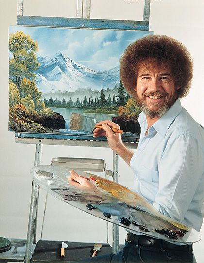 Bob Ross at Easel. Loved to watch this with mamaw when I was little. Awe memories.