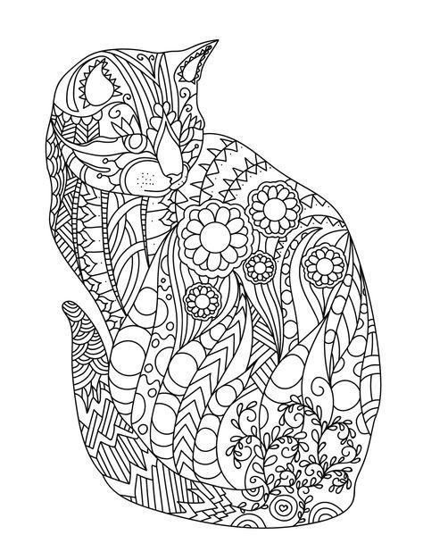 Zen Nature Cat Coloring Page