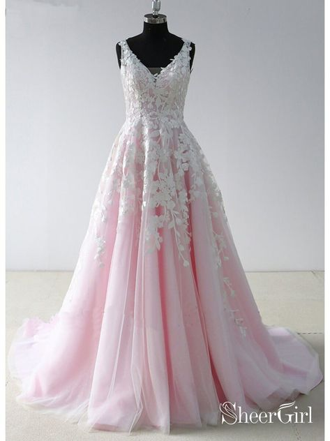 b900283a88 V Neck Lace Pink Long Prom Dresses Backless Cheap Prom Dress ARD1942 ...