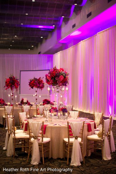 A Gorgeous Pink, Red & Purple Wedding Reception Decor By Prashe Wedding Decor Quince Themes, Quince Decorations, Wedding Stage Decorations, Wedding Themes, Wedding Centerpieces, Wedding Table, Wedding Venues, Wedding Mandap, Quince Ideas