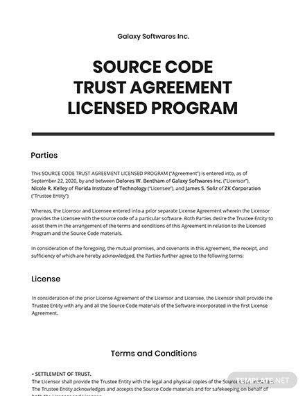 Source Code Trust Agreement Licensed Program Template Free Pdf Google Docs Word Apple Pages Template Net Program Template Source Code Coding