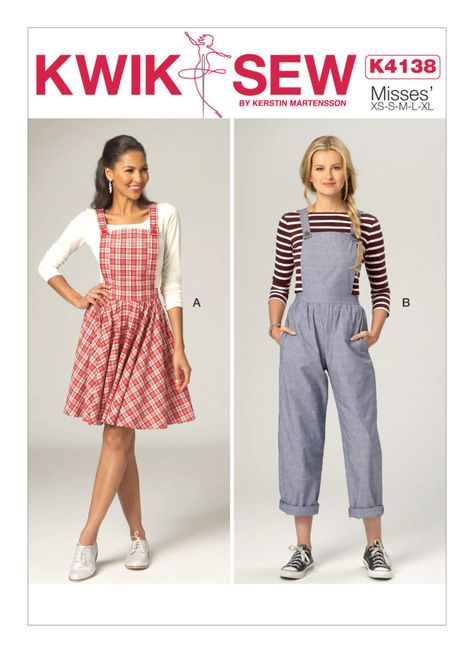 Kwik Sew Patterns, Dress Sewing Patterns, Clothing Patterns, Vogue Patterns, Jumpsuit Pattern, Pinafore Dress Pattern, Jacket Pattern, Easy Dress Pattern, Pattern Draping