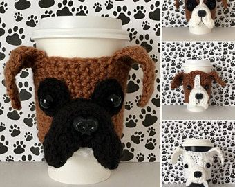Crochet Mug Cozies Crochet Patterns Crochet Kits By Hookedbyangel Crochet Mug Cozy Cozy Crochet Patterns Boxer Dog Gifts