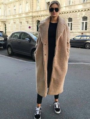 H&m aw2017 teddy pile beige coat size uk sml bloggers sold