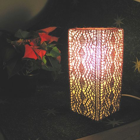 knitted lampshade on an IKEA lamp
