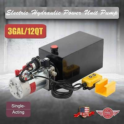 12 Volt Single Acting Hydraulic Pump 12v Dump Trailer 12 Quart Metal Reservoir In 2020 Hydraulic Pump Hydraulic Power Unit