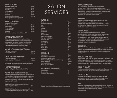 Best Ideas About Price List On   Hair Salon Prices