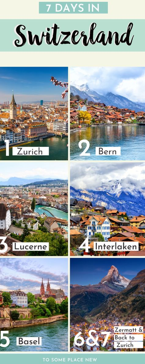 Visit the most beautiful places in 7 days in Switzerland. This Switzerland Itinerary 7 days has the perfect combination of cities and natural landscape. Switzerland travel guide one week Switzerland Travel Guide, Switzerland Itinerary, Visit Switzerland, Europe Travel Tips, European Travel, Travel Destinations, Europe Car, Cool Places To Visit, Places To Travel