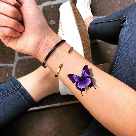 Small purple butterfly animal color tattoo design. Safe and non-toxic, waterproof temporary tattoo sticker. Lasts 2-5 Days. Worldwide Shipping.