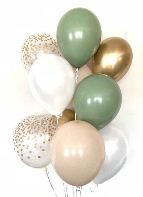 Green and White Balloons Boho Baby Shower, Baby Shower Fall, Baby Shower Cakes, Baby Boy Shower, Baby Shower Green, Woodland Baby Shower Decor, Baby Girl Shower Decorations, Best Baby Shower Favors, Baby Shower Souvenirs