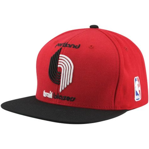 fa01c861dfb Mitchell   Ness Portland Trail Blazers XL Logo Two Tone Snapback Hat -  Red Black