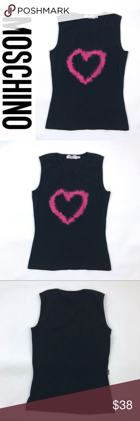 74aef8d6cfa2b Moschino Jeans Black Tank Pink Feather Heart S Moschino Jeans Black Tank Top  with Link Boa Feather Heart. This top is super cute and Italian high  fashion.